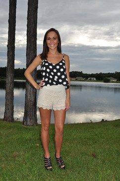 Polka Dot Crop Top - Black with White Dots