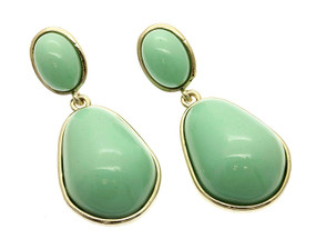 Post Pin Brass Earrings - Mint