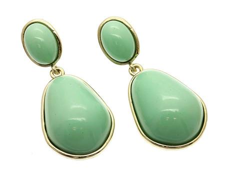 Post Pin Brass Earrings - Mint