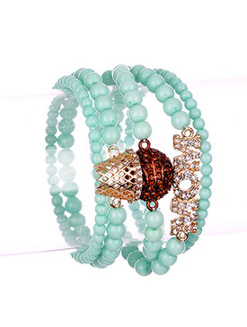 Bracelet / 5 Pc / Stretch / Basketball Mom / Pave Crystal Stone / Lucite Bead / 2 1/4 Inch Diameter / 1 1/4 Inch Tall / Nickel And Lead Compliant