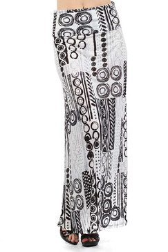 Print Full Length Skirt with Overlapped Waist