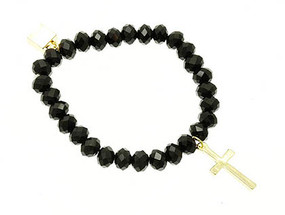 Bracelet / Cross Charm / Stretch / Metal / Lucite Bead / 1 1/4 Inch Tall / Nickel And Lead Complaint