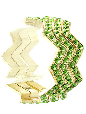 Bracelet / Chevron Design / Bangle / Metal / Crystal Stone Paved / 3 Pcs / Stackable / 1 1/2 Inch Tall / Nickel And Lead Compliant
