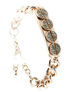 Bracelet / Link / Metalchain / Crystal Stone Paved / 1/2 Inch Tall / Nickel And Lead Compliant