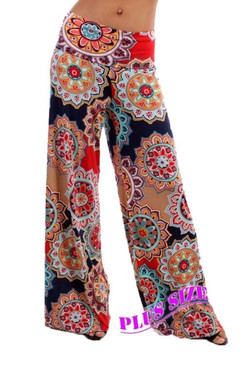 PS Plus Navy and Red Printed Palazzo Pants