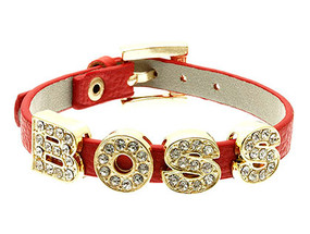 Bracelet / Wrap / Boss / Leather / Metal / Crystal Stone Paved / Watch Clasp / Adjustable / 2 Inch Tall / Nickel And Lead Compliant