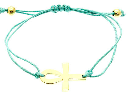 Bracelet / Metal Cross / Adjustable / Braided Double Cord / 2 Inch Diameter / 3/4 Inch Tall / Nickel And Lead Compliant