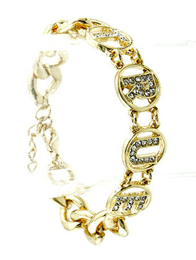 Bracelet / Link / Metal / Crystal Stone / Message / True / 1/2 Inch Tall / Nickel And Lead Compliant