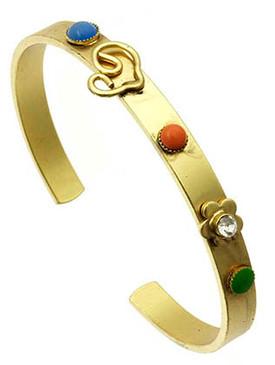 Bracelet / Swirl Heart / Cuff / Brass / Crystal Stone / Lucite Bead / 2 1/2 Inch Diameter / Nickel And Lead Compliant