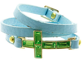 Bracelet / Belt Closure / Leather / Metal / Lucite Bead / Cross / 1 Inch Tall / Nickel And Lead Compliant