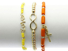 Bracelet / Stretch / Metal / Lucite Bead / Stackable / Message / Love / Cross / Infinity / 3Pcs / 1/2 Inch Tall / Nickel And Lead Compliant