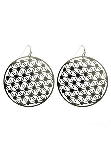 Round Flower Patterned Earrings