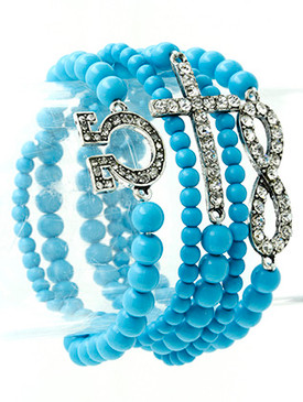 Bracelet / Stretch / Metal / Crystal Stone / Lucite Bead / Stackable / Infinity / Cross / Omega / 5 Pcs / 1 1/2 Inch Tall / Nickel And Lead Compliant