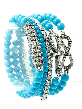 Bracelet / Stretch / Metal / Crystal Stone / Lucite Bead / Infinity / Egyptian Cross / 5 Pcs / 1 1/3 Inch Tall / Nickel And Lead Compliant