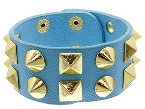 Bracelet / Leather / Clip / Metal / Studs / Spikes / 1 1/4 Inch Tall / Nickel And Lead Compliant