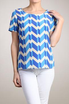 Semi Sheer Multicolor Chevron Printed Top - Blue