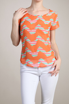 Sheer Unique Chevron Print Top - Orange