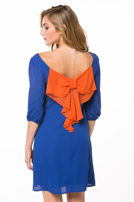 Sideline Sweetheart Dress - Blue/Orange