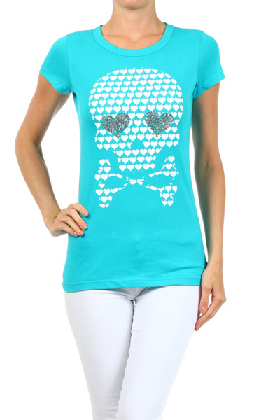 Skull and Crossbones T-Shirt - Aqua