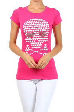 Skull and Crossbones T-Shirt - Pink