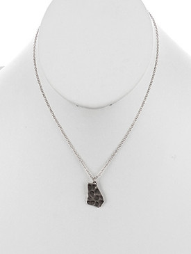NECKLACE / STATE OF GEORGIA / CHARM / MATTE FINISH / HAMMERED METAL / CHAIN / 16 INCH LONG / 7/8 INCH DROP / NICKEL AND LEAD COMPLIANT