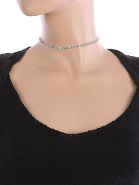 NECKLACE / LAYERED RHINESTONE / CHOKER / 12 INCH LONG / 1/8 INCH DROP / NICKEL AND LEAD COMPLIANT