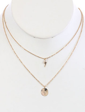 NECKLACE / 2PC LIGHTNING BOLT / CHARM CHAIN / CUTOUT METAL / 16 INCH LONG / 1 1/2 INCH DROP / NICKEL AND LEAD COMPLIANT