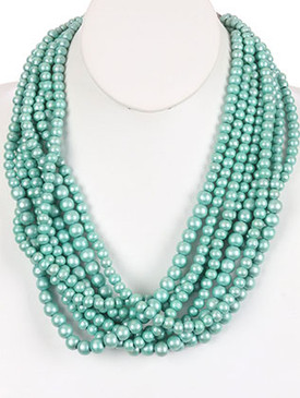 NECKLACE / MULTI LAYER / WOODEN BEAD BIB / PEARL FINISH / 20 INCH LONG / 1 1/2 INCH DROP / NICKEL AND LEAD COMPLIANT