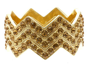 Stackable Crystal Stone Paved Chevron Style Bangle 3pcs - Gold