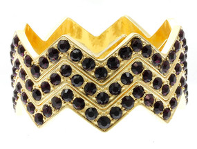 Stackable Crystal Stone Paved Chevron Style Bangle 3pcs - Purple