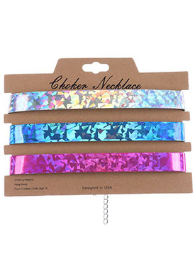 NECKLACE / 3PC / IRIDESCENT HOLOGRAPHIC CHOKER / VINYL / 12 INCH LONG / 3/4 INCH DROP / NICKEL AND LEAD COMPLIANT