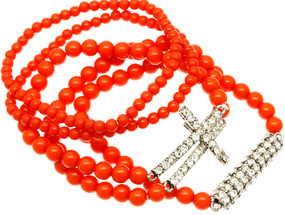 Stackable Stretch Bead Cross Bracelet 5 pcs.