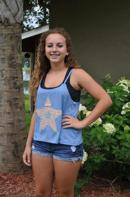 Star Tank with Braided Straps Racerback - Blue