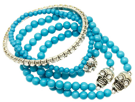 Stretch Bead Bracelet with Skull Charms 5 pcs. - Aqua