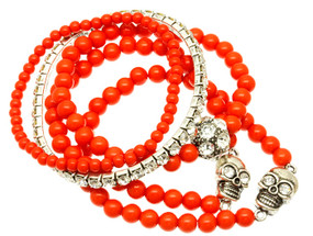 Stretch Bead Bracelet with Skull Charms 5 pcs. - Coral