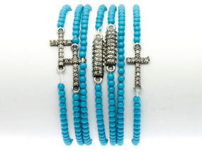Stretch Lucite Bead Cross Bracelets 7pcs