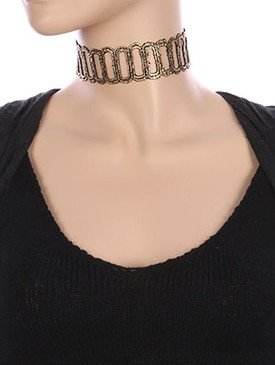 NECKLACE / LINK PATTERN CROCHET / METALLIC LACE CHOKER / 12 INCH LONG / 1 1/3 INCH DROP / NICKEL AND LEAD COMPLIANT