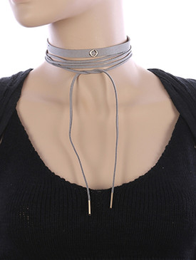 NECKLACE / 2 PC SUEDE / WRAPAROUND CHOKER / METAL RING CHARM / 68 INCH LONG / 3/4 INCH DROP / NICKEL AND LEAD COMPLIANT