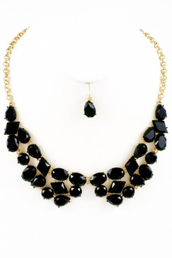 Touchback Necklace and Earring Set - Black