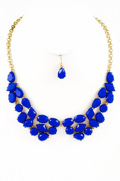 Touchback Necklace and Earring Set - Blue