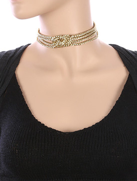 NECKLACE / MULTI STRAND / METALLIC ROPE CHOKER / KNOTTED CENTER / 12 INCH LONG / 1 INCH DROP / NICKEL AND LEAD COMPLIANT