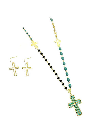 Turquoise Cross Link Beaded Necklace and Earring Set