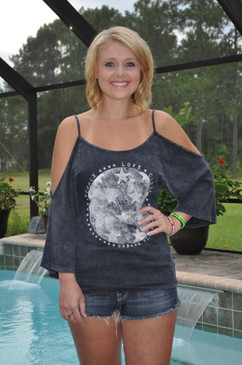 Urban X 3/4 Open Dolman Sleeve Top with Graphic Design
