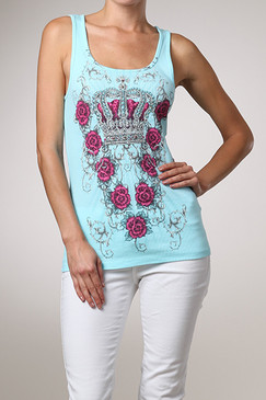 Urban X Ribbed Tank With Crown and Roses Rhinestones