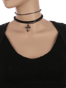 NECKLACE / 2 PC / FAUX LEATHER CHOKER / METAL CROSS / METALLIC STONE / METAL STUDS / CHAIN LOOP / 12 INCH LONG / 1 1/4 INCH DROP / NICKEL AND LEAD COMPLIANT