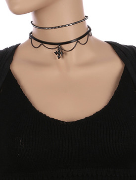 NECKLACE / 2 PC / FAUX LEATHER CHOKER / ANCIENT METAL CROSS / METALLIC STONE / METAL STUDS / CHAIN LOOP / 12 INCH LONG / 1 INCH DROP / NICKEL AND LEAD COMPLIANT