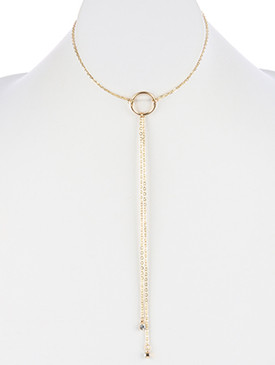 NECKLACE / PAVE CRYSTAL STONE CHARM / CIRCLE CUTOUT CHOKER / 14 INCH LONG / 7 1/2 INCH DROP / NICKEL AND LEAD COMPLIANT