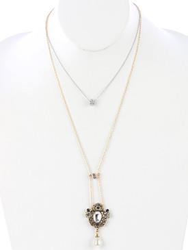 NECKLACE / FILIGREE METAL / PEARL CHARM / 2 PC / FACETED GLASS STONE / CRYSTAL STONE / AGED FINISH METAL / CUTOUT / LINK / CHAIN / 18 INCH LONG / 6 1/4 INCH DROP / NICKEL AND LEAD COMPLIANT