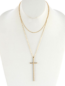 NECKLACE / METAL CROSS PENDANT / DOUBLE LAYER CHAIN / PAVE CRYSTAL STONE / 18 INCH LONG / 7 INCH DROP / NICKEL AND LEAD COMPLIANT