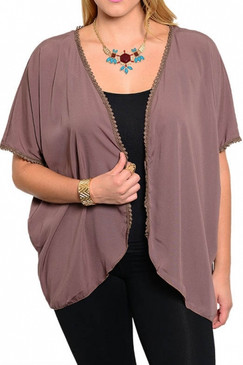 PS Plus Short Sleeve Cardigan - Brown